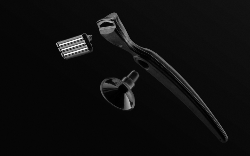 Image of beautiful razor floating in space.
