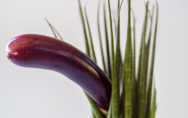 Aubergine poking out from between leaves – shaving your pubes for the first time?