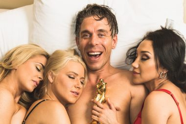 Mick Blue in bed with his wife and two other women after the porn Oscars
